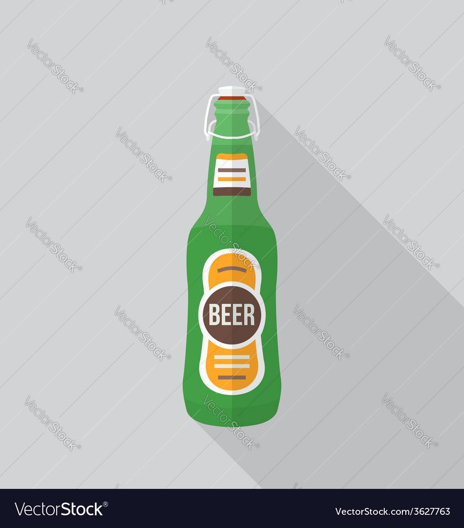Flat style beer bottle icon with shadow vector | Price: 1 Credit (USD $1)