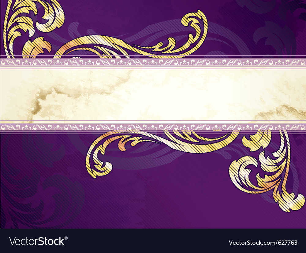 Gold and purple banner vector | Price: 1 Credit (USD $1)