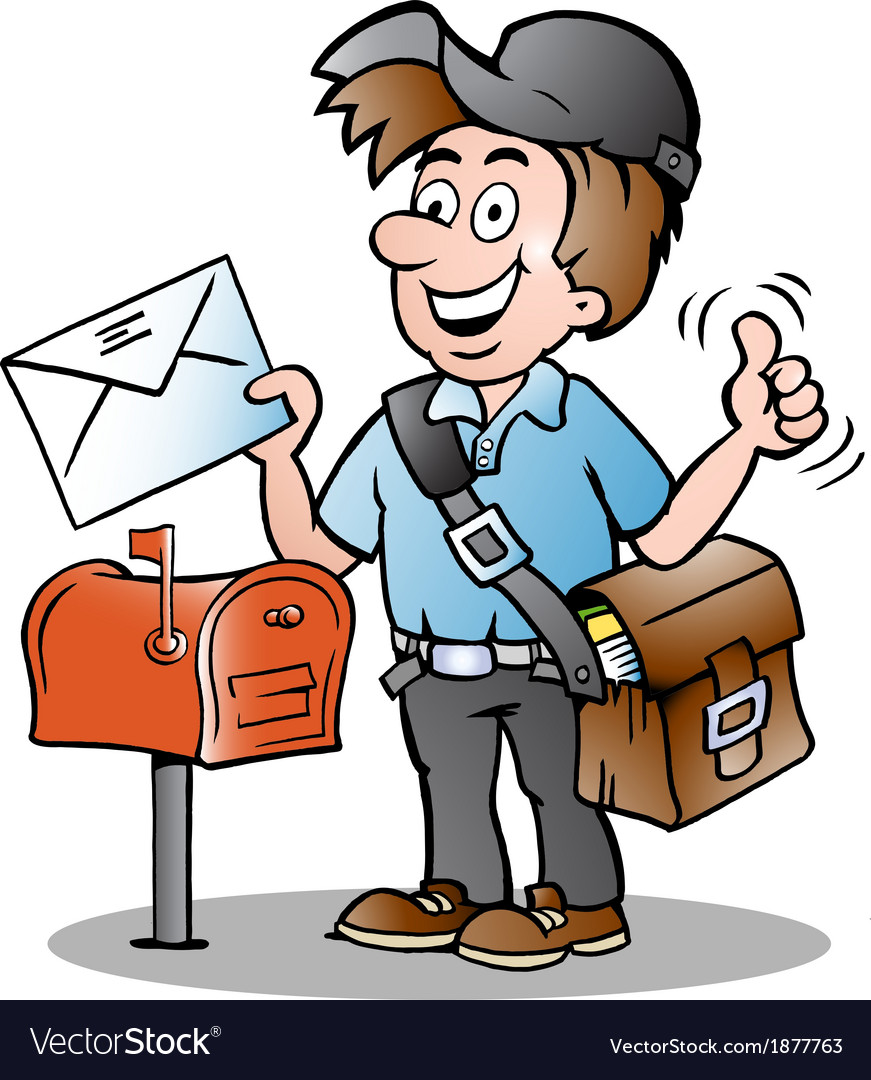 Hand-drawn of an happy postman vector | Price: 1 Credit (USD $1)