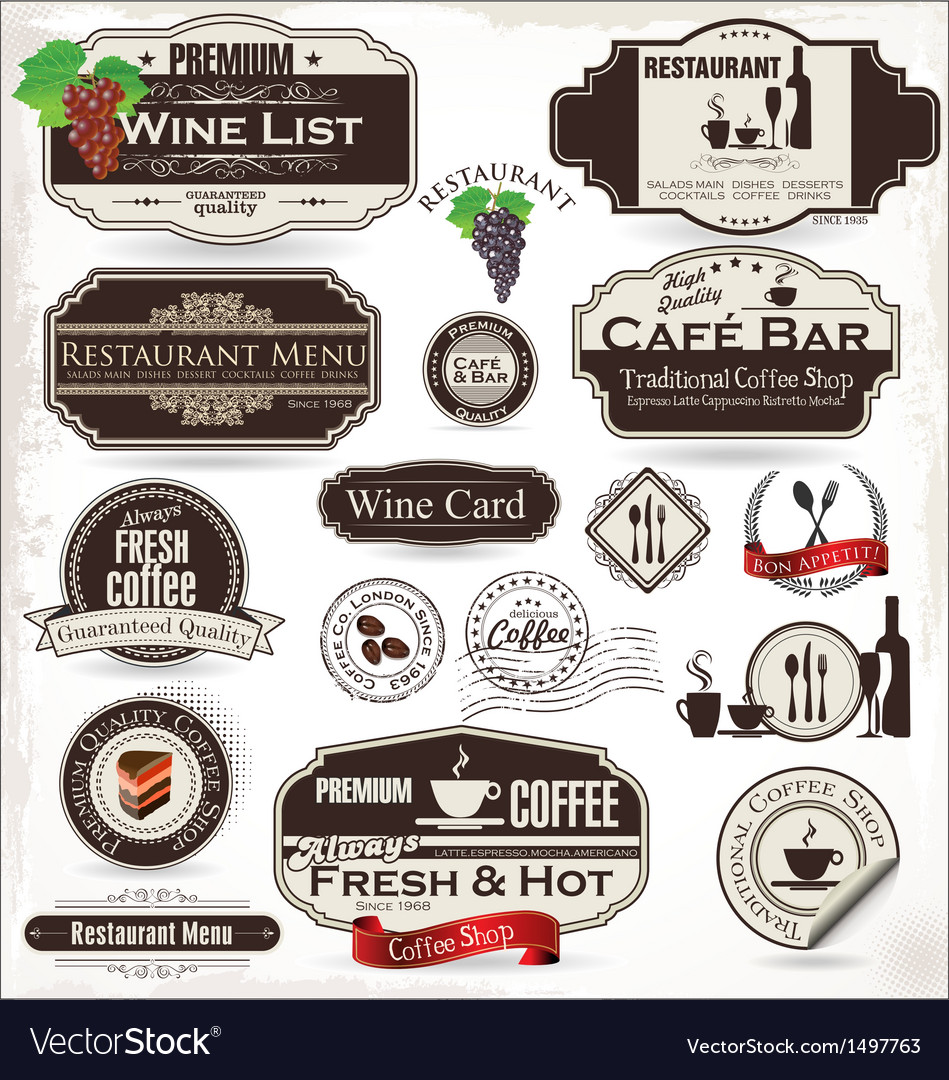 Label set for restaurant and cafe vector | Price: 3 Credit (USD $3)