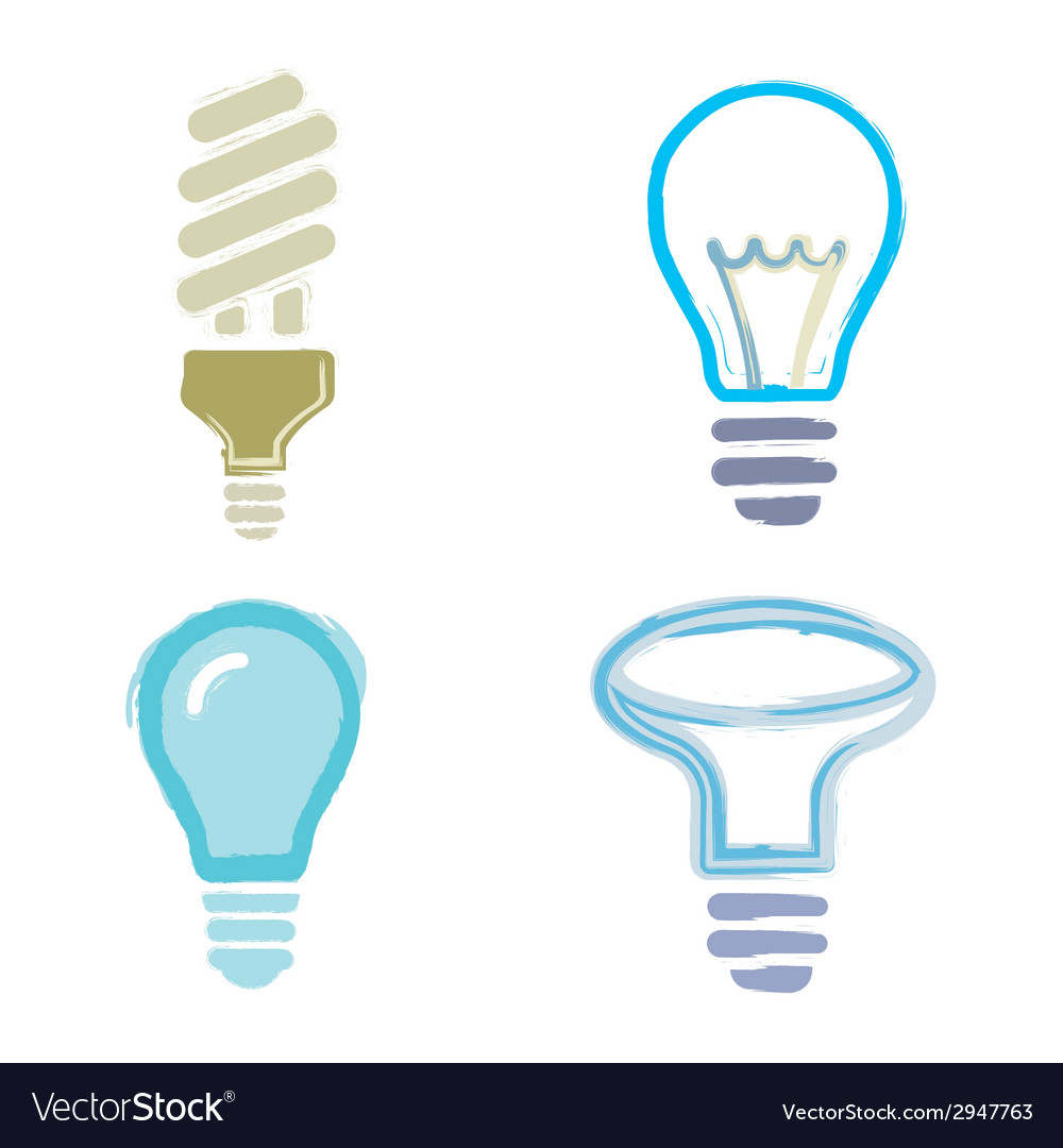 Light bulb symbols icons cartoon paint set vector | Price: 1 Credit (USD $1)