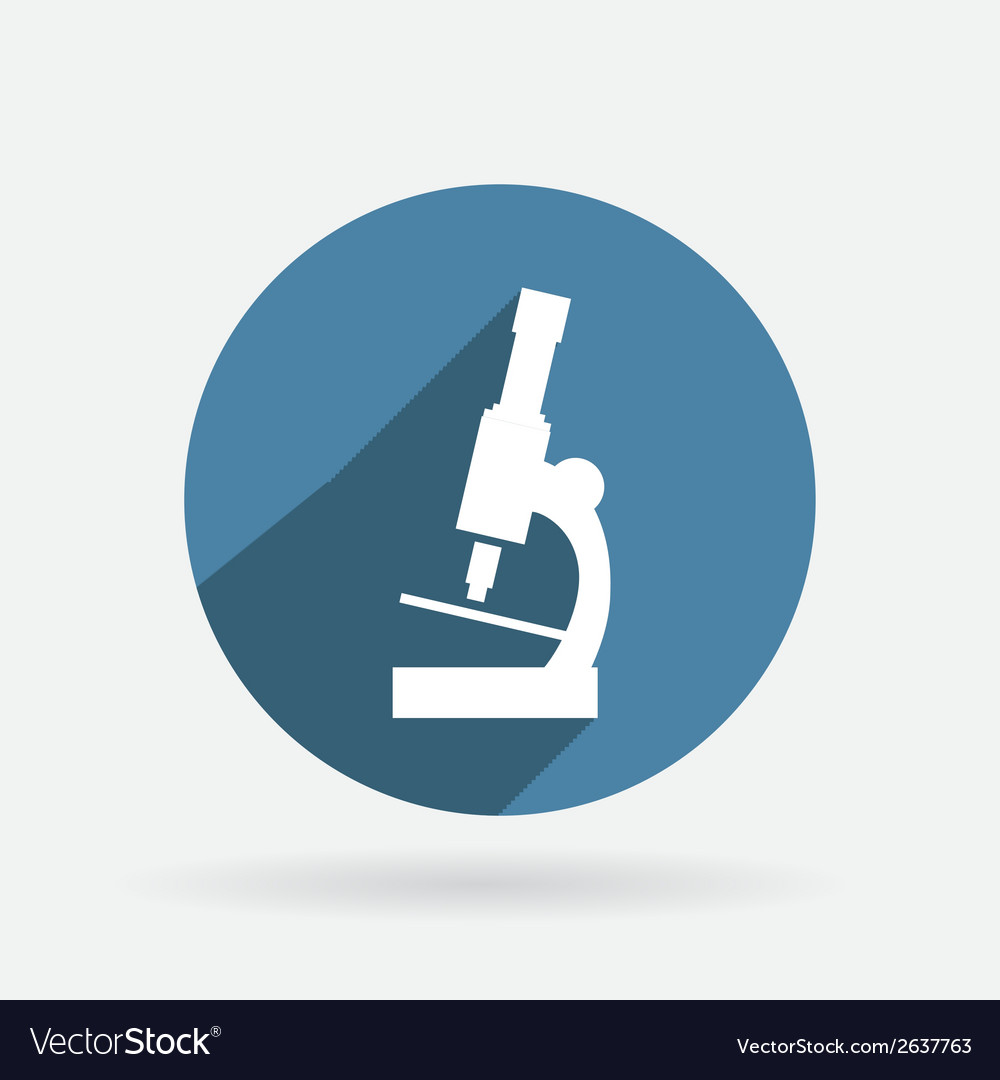 Microscope circle blue icon with shadow vector | Price: 1 Credit (USD $1)