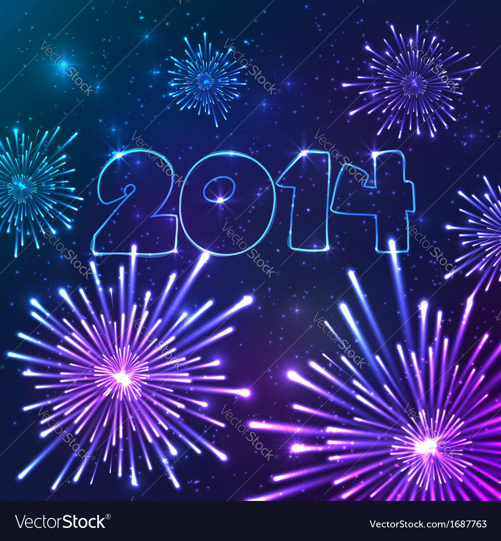New year fireworks with date greeting card vector | Price: 1 Credit (USD $1)