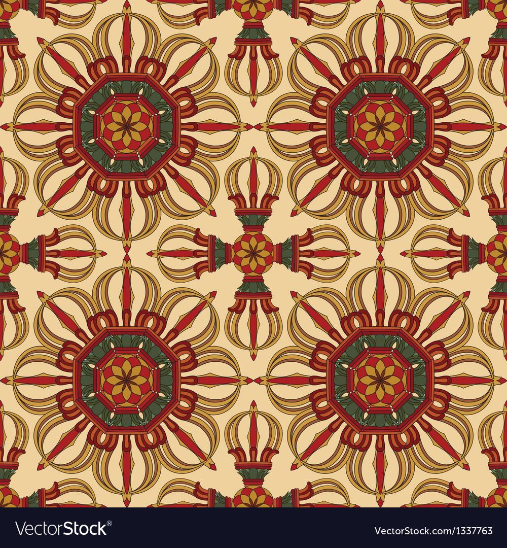 Seamless vajra tibetan pattern vector | Price: 1 Credit (USD $1)