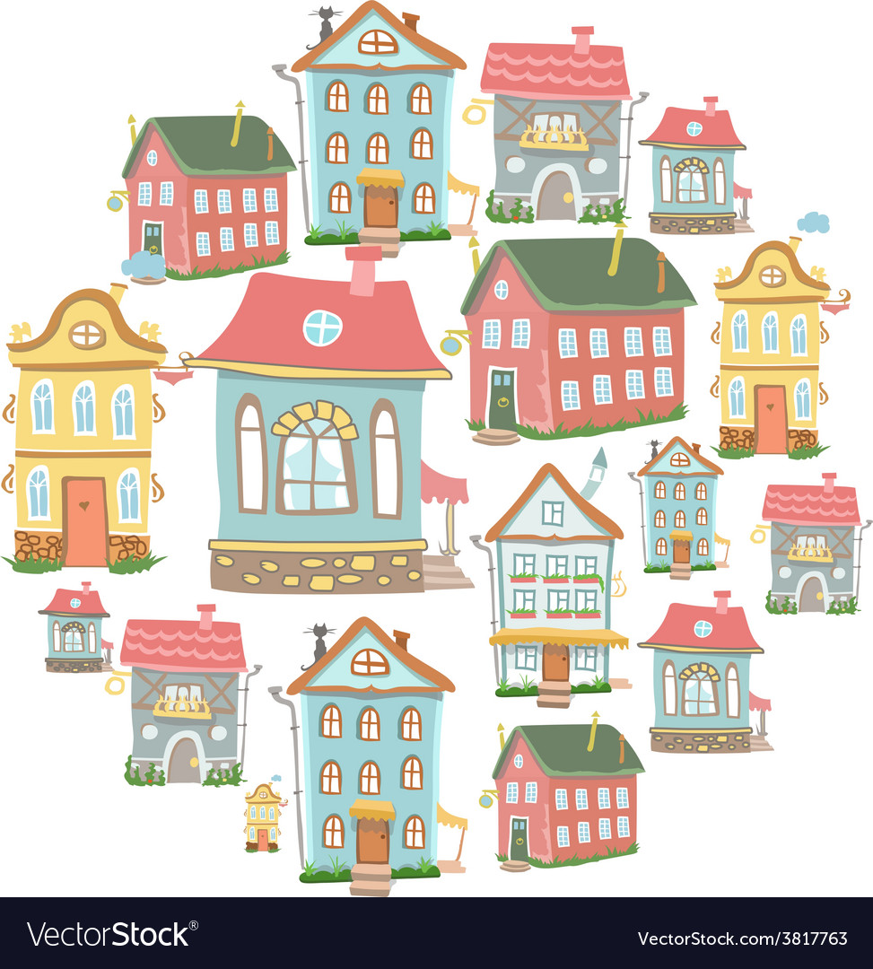 Set of hand-drawn cute cartoon houses vector | Price: 1 Credit (USD $1)