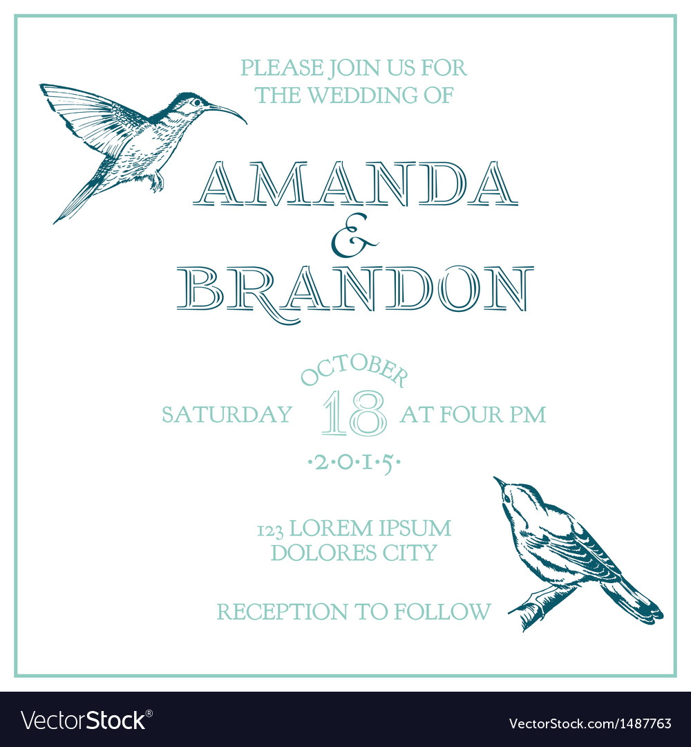 Wedding vintage invitation card  bird theme vector