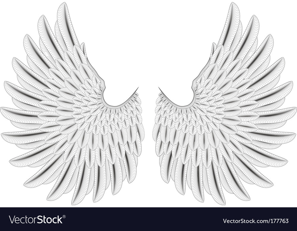 Woodcut wings vector | Price: 1 Credit (USD $1)