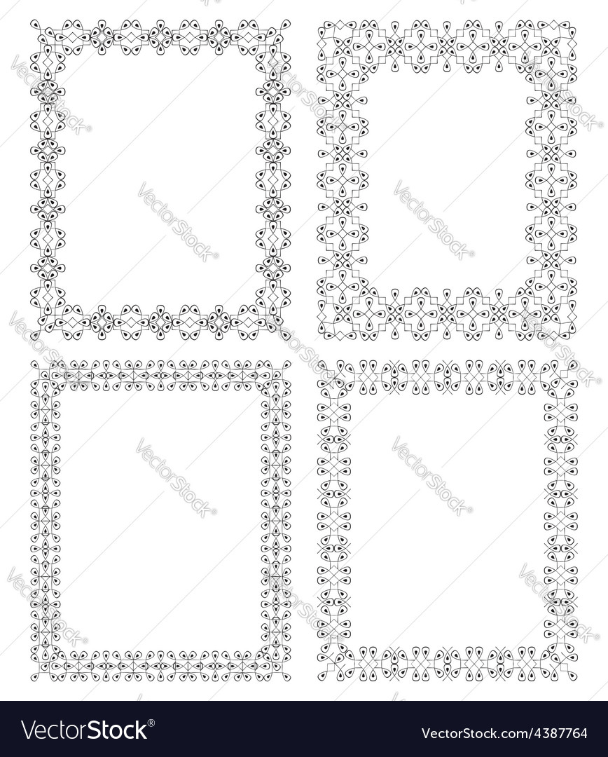4 black rectangular frame in ethnic style vector | Price: 1 Credit (USD $1)