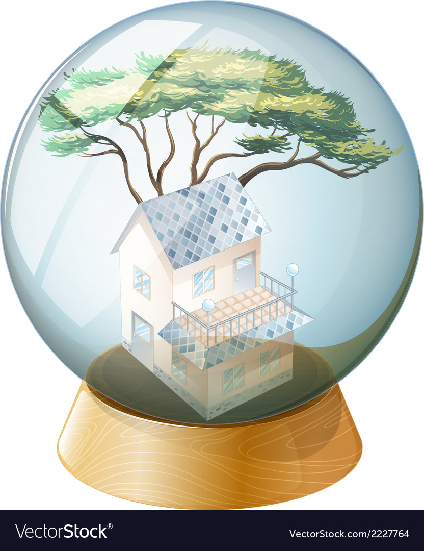 A crystal ball with a house inside vector   Price: 1 Credit (USD $1)