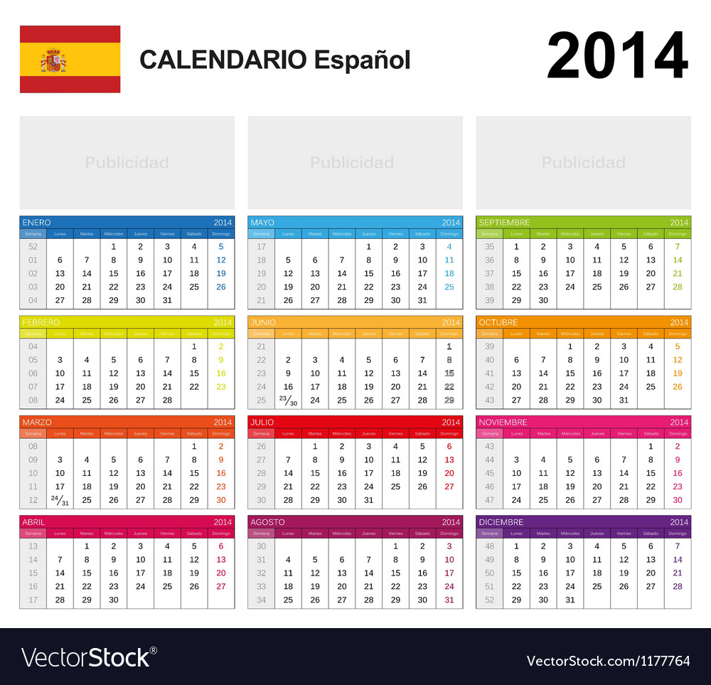 Calendar 2014 spain type 19 vector | Price: 1 Credit (USD $1)