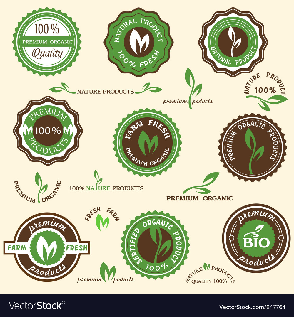 Collection of organic labels and icons vector | Price: 1 Credit (USD $1)