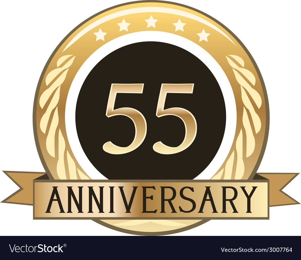 Fifty five year anniversary badge vector | Price: 1 Credit (USD $1)