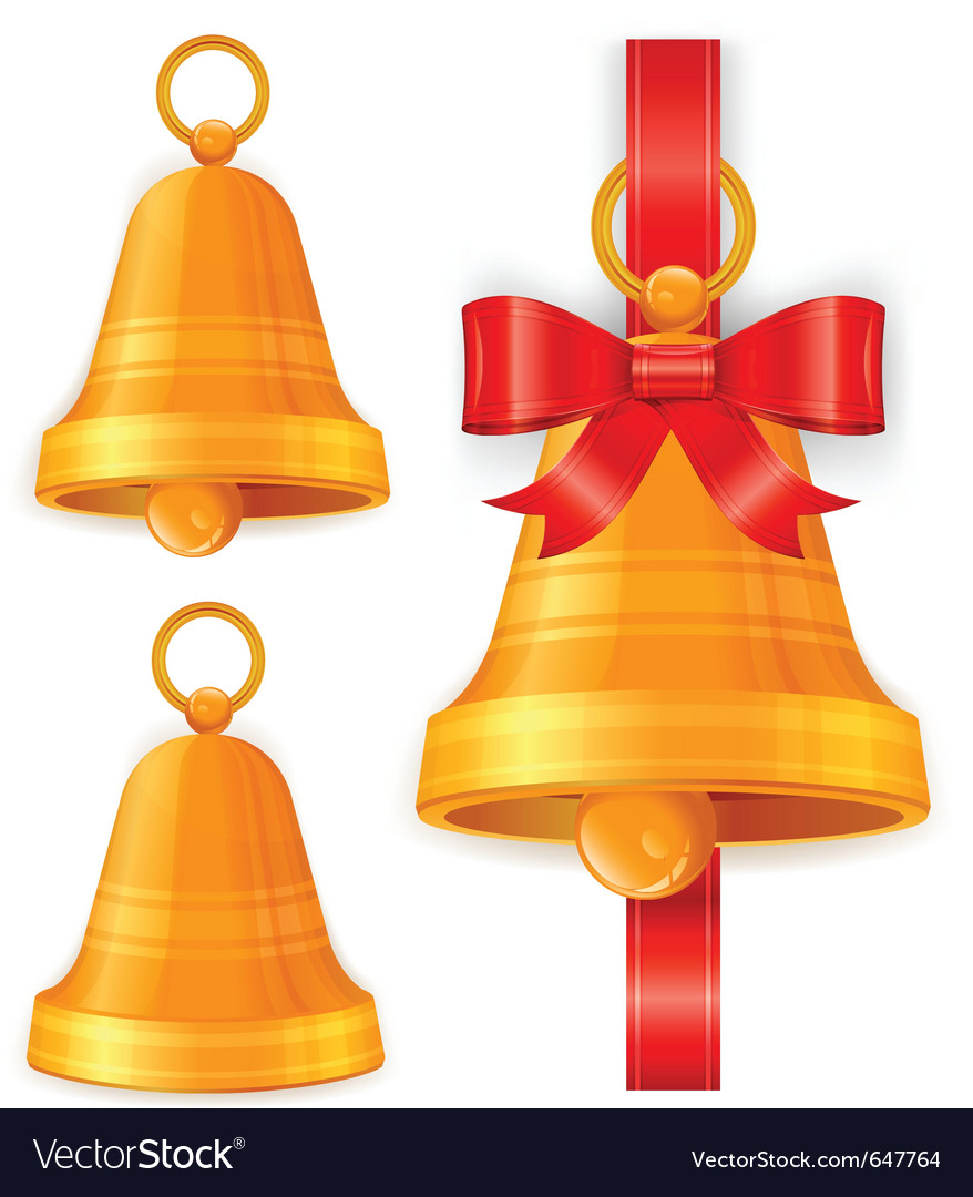 Gold christmas bells vector | Price: 1 Credit (USD $1)