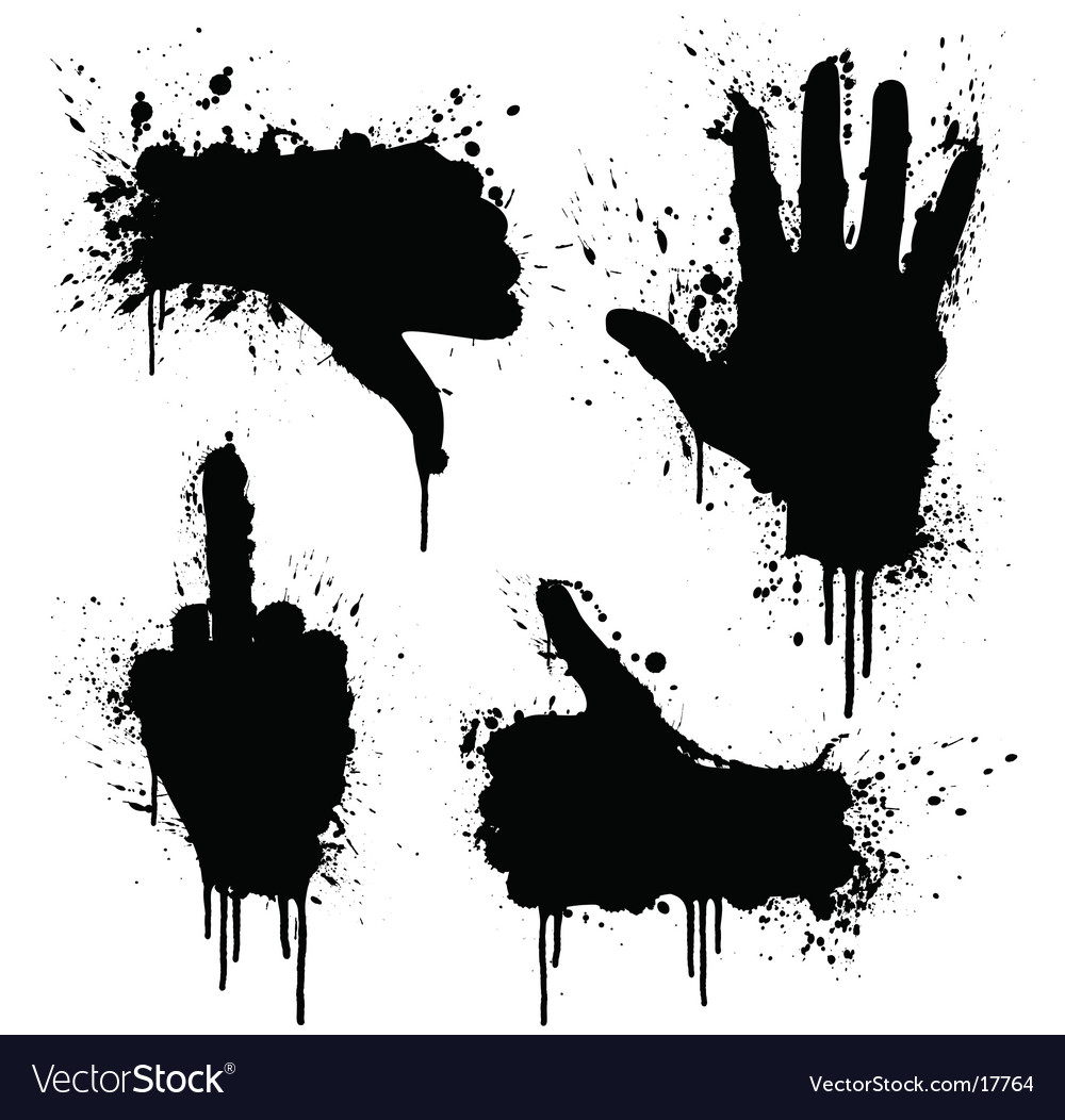 Hand gestures splatter design elements vector | Price: 1 Credit (USD $1)