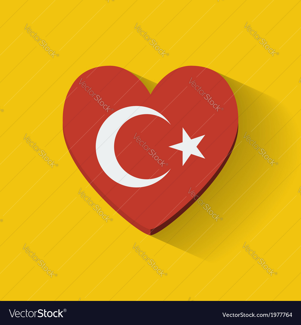Heart-shaped icon with flag of turkey vector | Price: 1 Credit (USD $1)