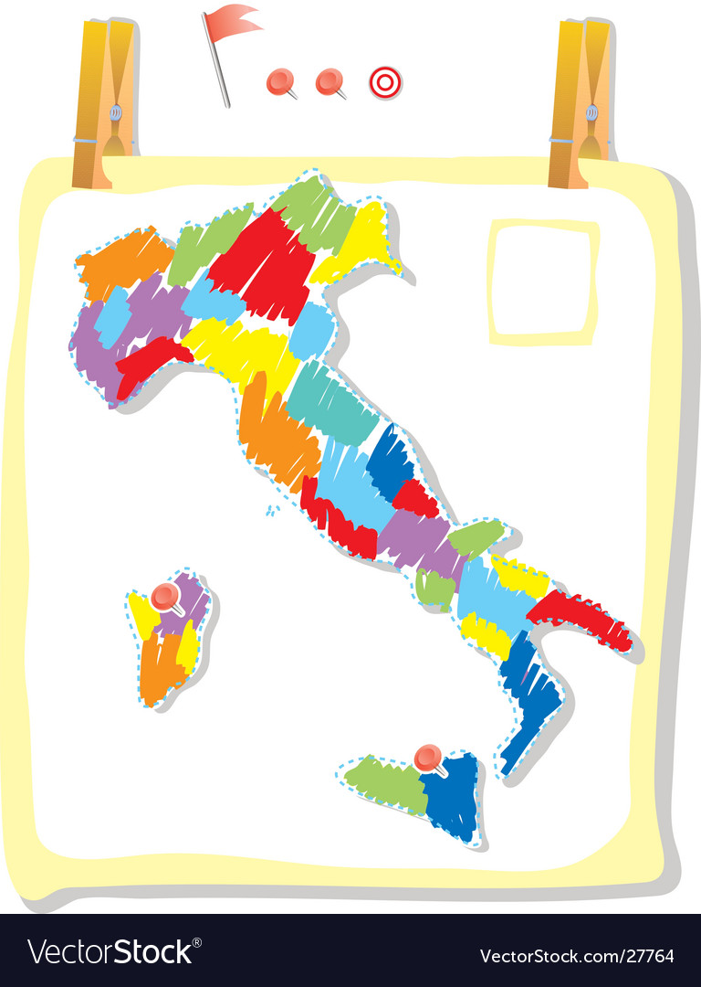 Italy map in paint style vector | Price: 1 Credit (USD $1)