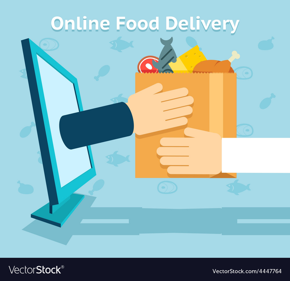 Online food delivery vector | Price: 1 Credit (USD $1)