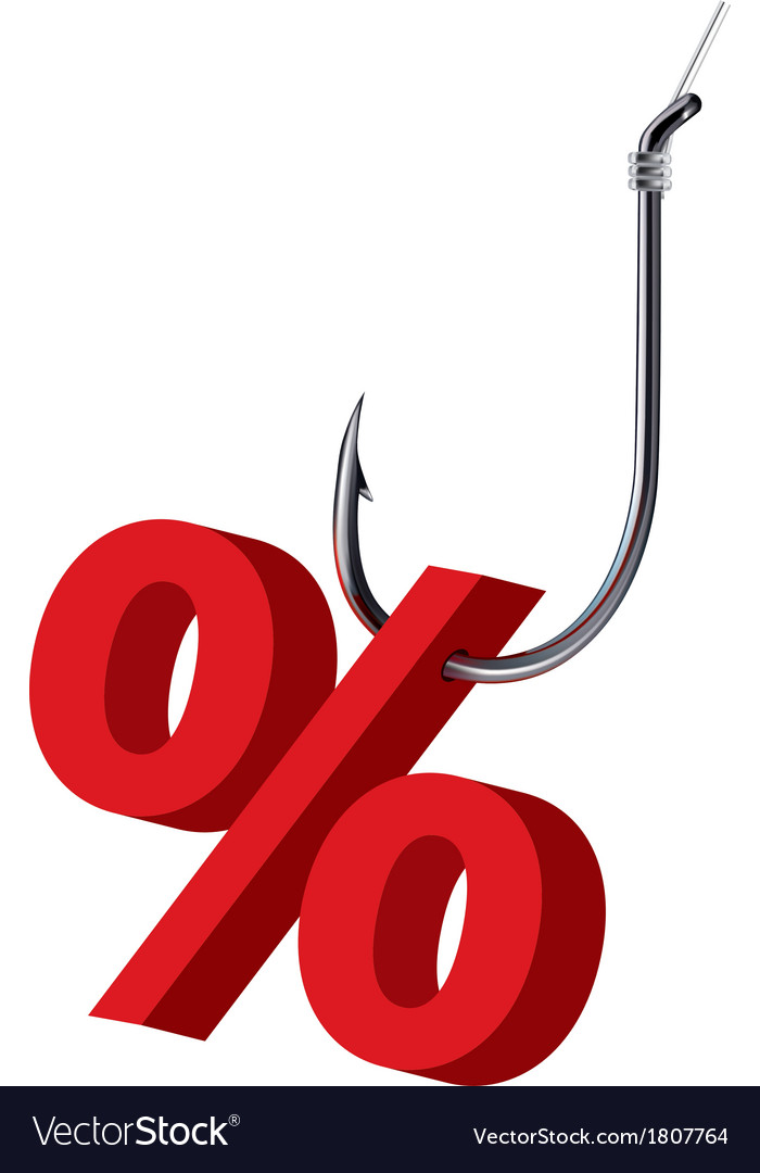 Percent sign on the hook isolated vector | Price: 1 Credit (USD $1)