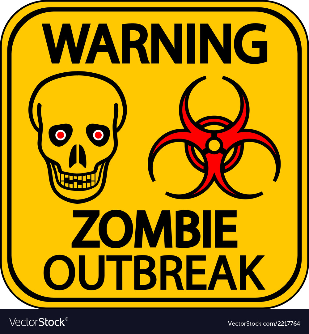 Road sign warning zombie outbreak vector | Price: 1 Credit (USD $1)