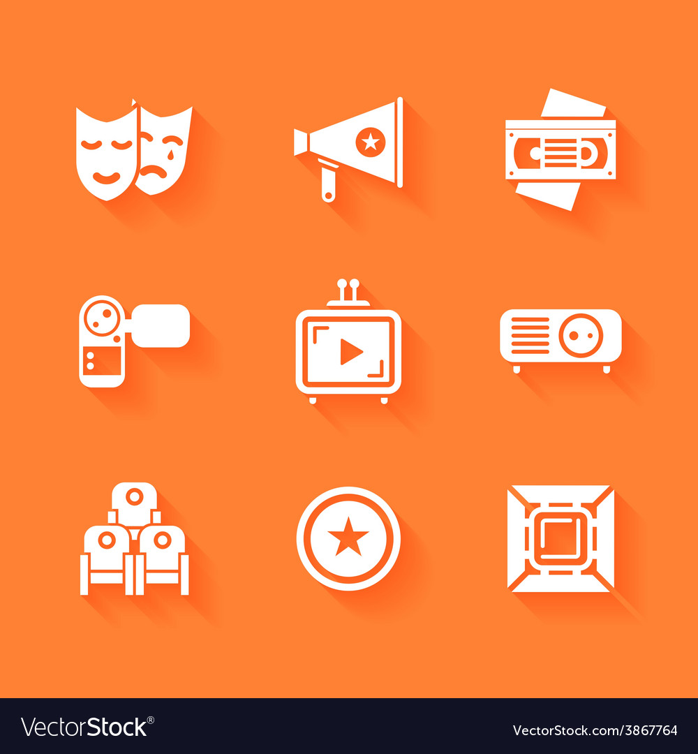 Set of white cinema movie icons vector | Price: 1 Credit (USD $1)