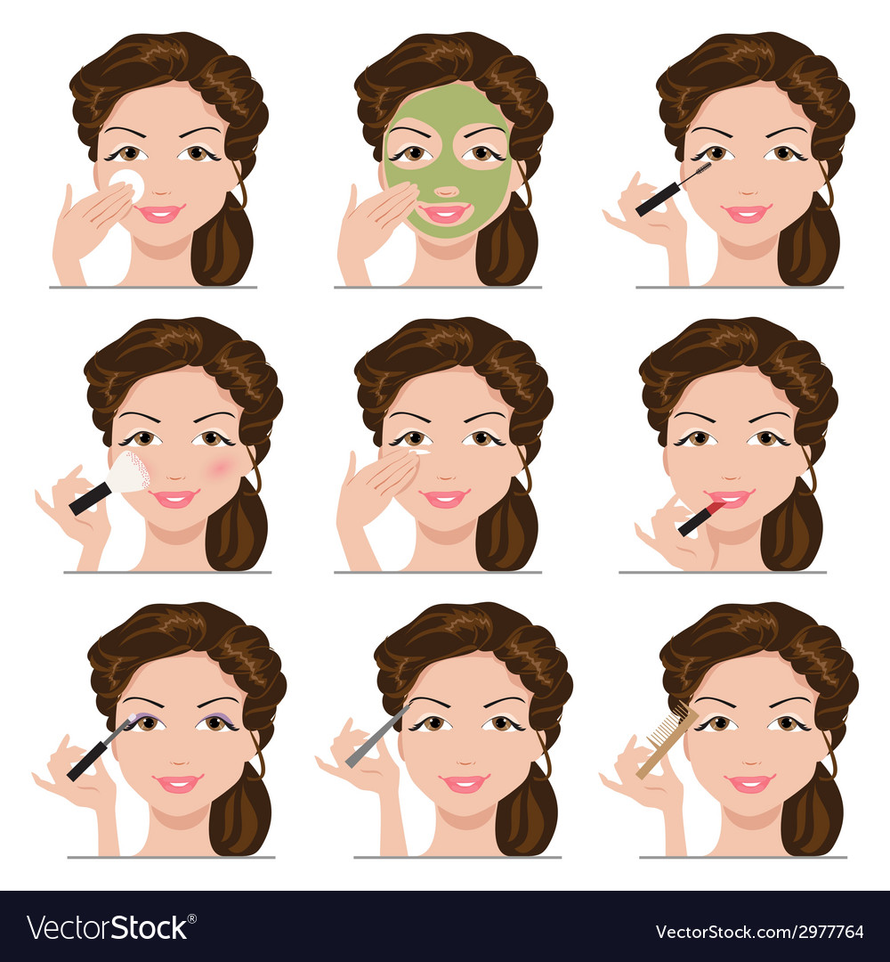 Set of women with make-up vector | Price: 1 Credit (USD $1)