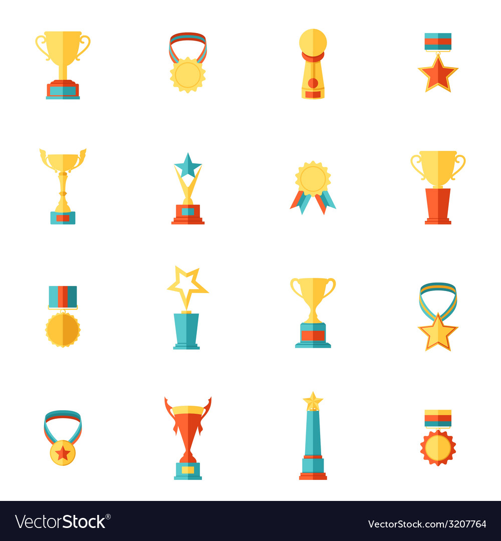 Trophy icons set vector | Price: 1 Credit (USD $1)