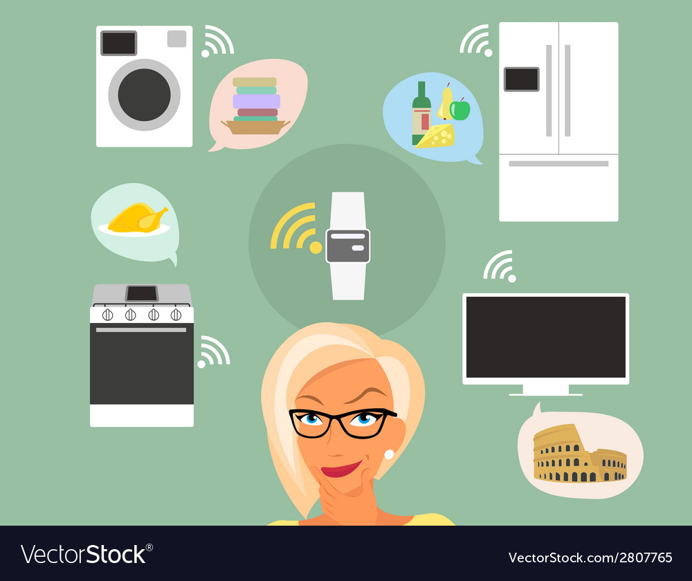 Blond woman thinking about smart gadgets at home vector | Price: 1 Credit (USD $1)