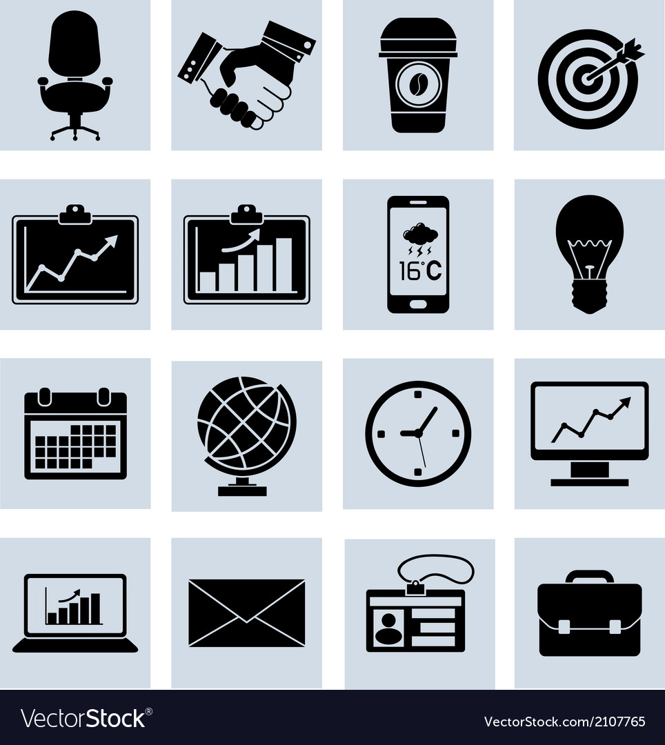 Business icons set black vector | Price: 1 Credit (USD $1)
