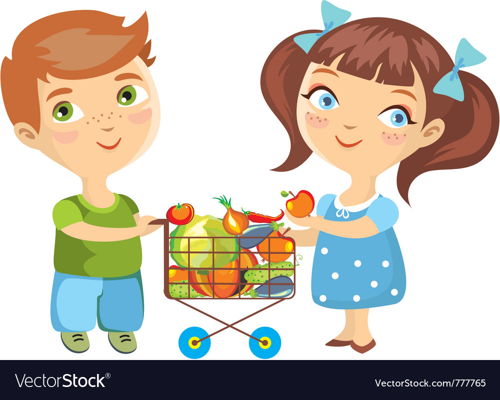 Children purchase vegetables vector | Price: 3 Credit (USD $3)