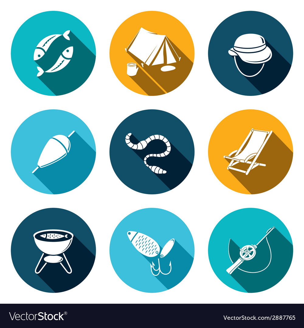 Fishing icon collection vector | Price: 1 Credit (USD $1)