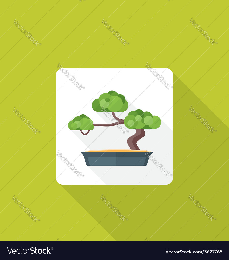 Flat style bonsai icon with shadow vector | Price: 1 Credit (USD $1)