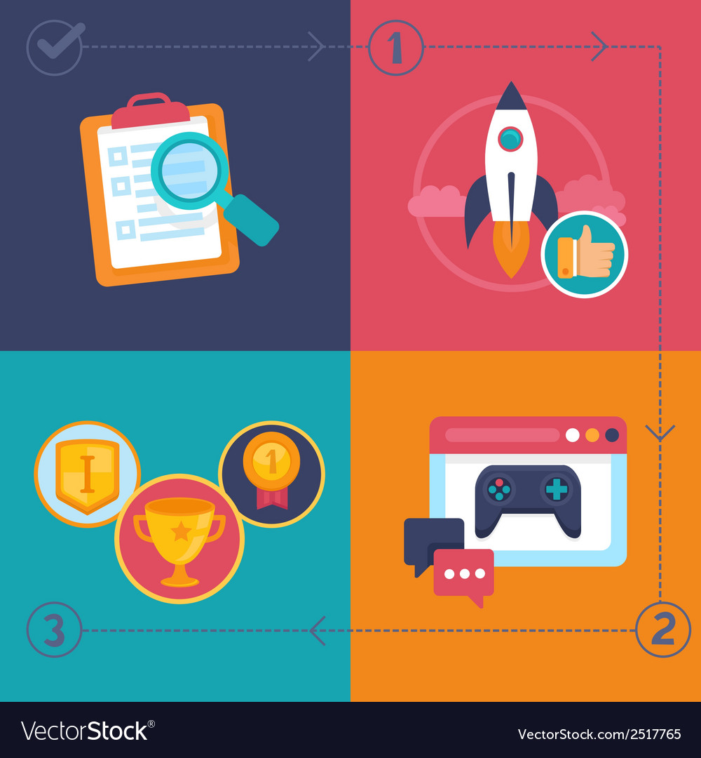 Gamification process vector | Price: 1 Credit (USD $1)