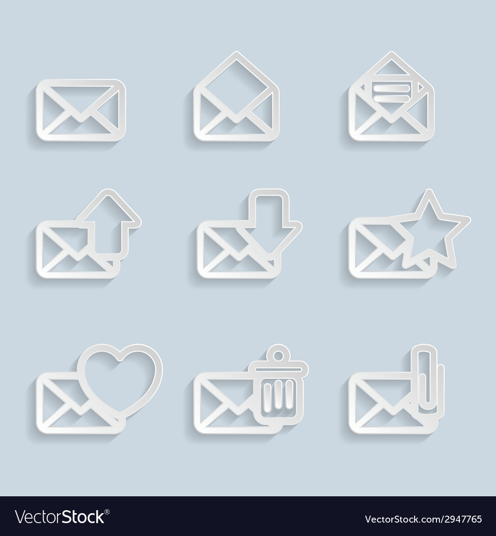 Paper envelopes icons vector   Price: 1 Credit (USD $1)