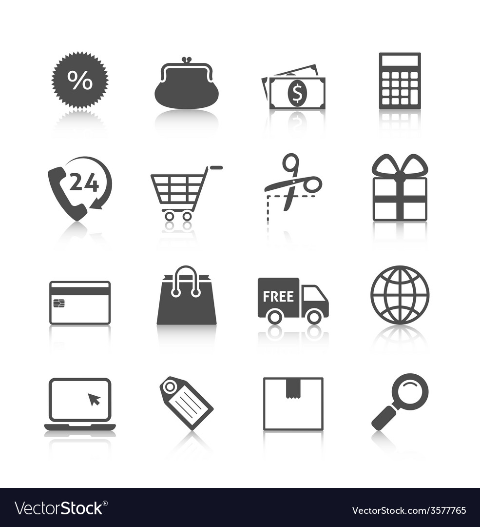Shopping icons gray with reflection vector | Price: 1 Credit (USD $1)