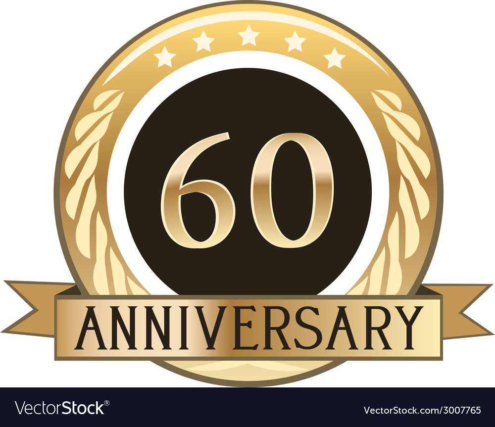 Sixty year anniversary badge vector | Price: 1 Credit (USD $1)
