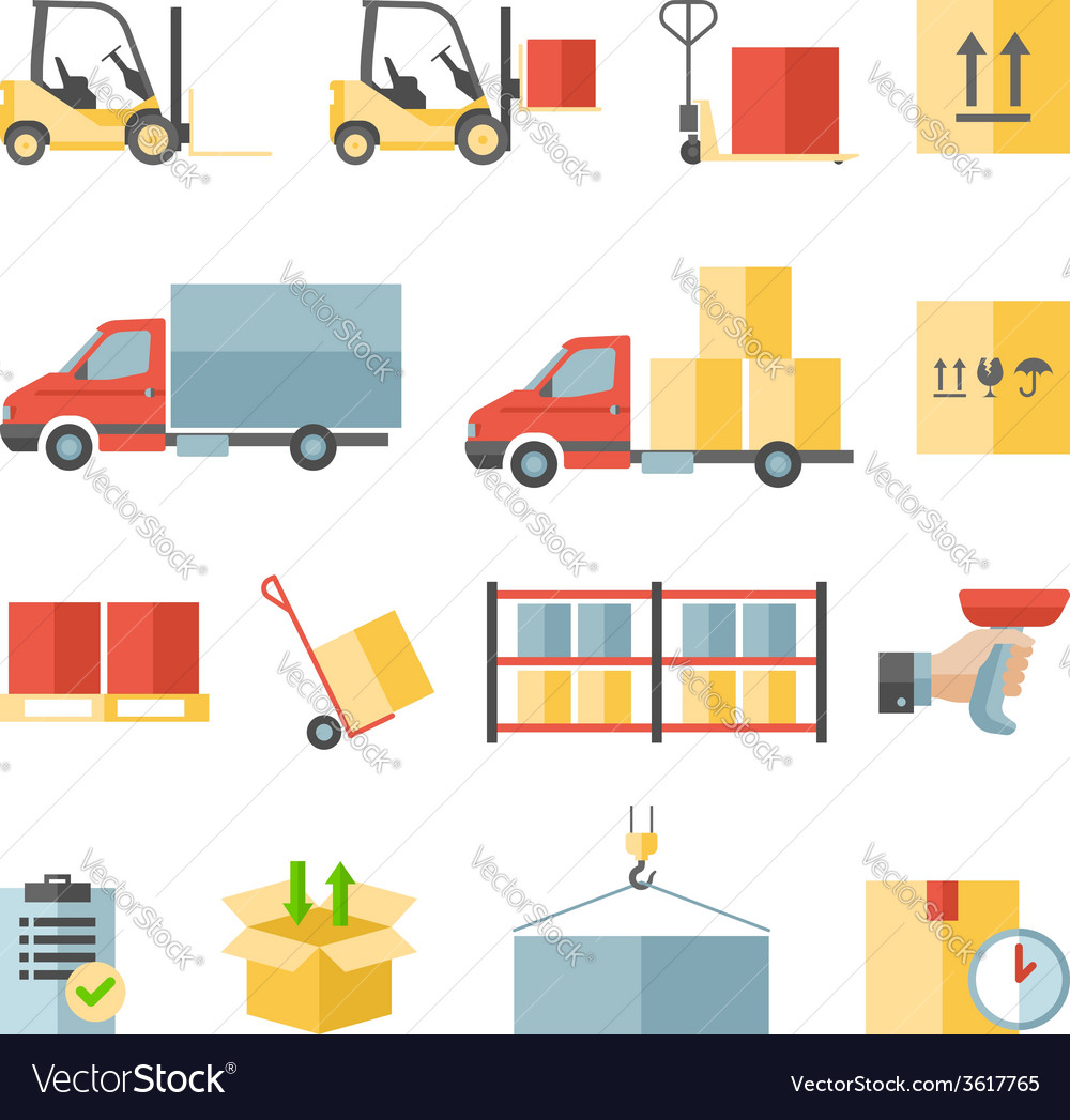 Warehouse transportation and delivery flat icons vector | Price: 1 Credit (USD $1)