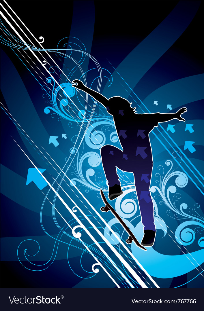 Abstract skateboarder vector | Price: 1 Credit (USD $1)