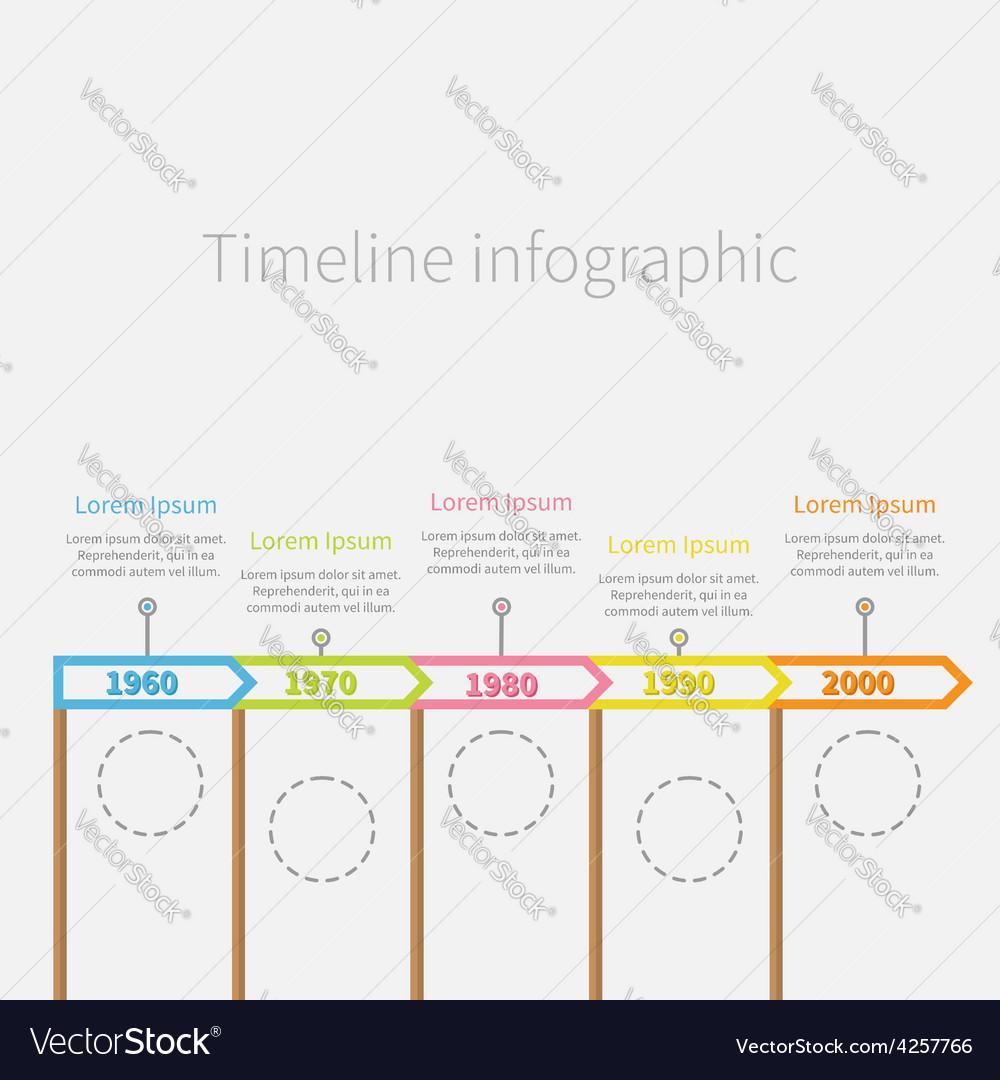 Arrow flag sticks horizontal timeline infographic vector | Price: 1 Credit (USD $1)