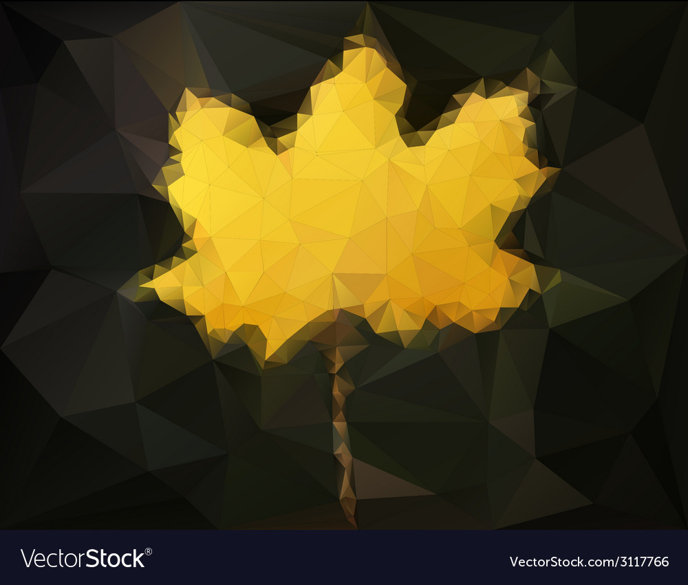 Autumn maple leaf - abstract low poly art vector | Price: 1 Credit (USD $1)