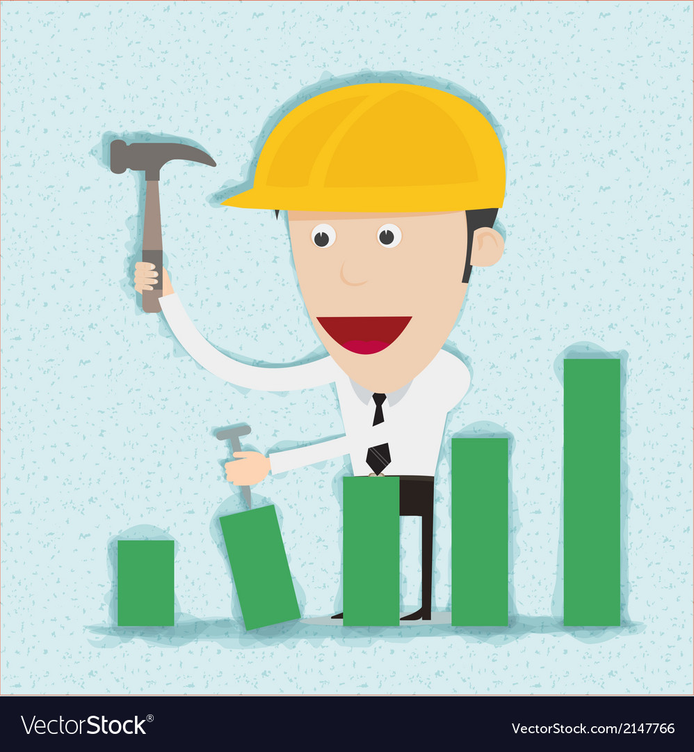 Business man and engineer build graph vector | Price: 1 Credit (USD $1)