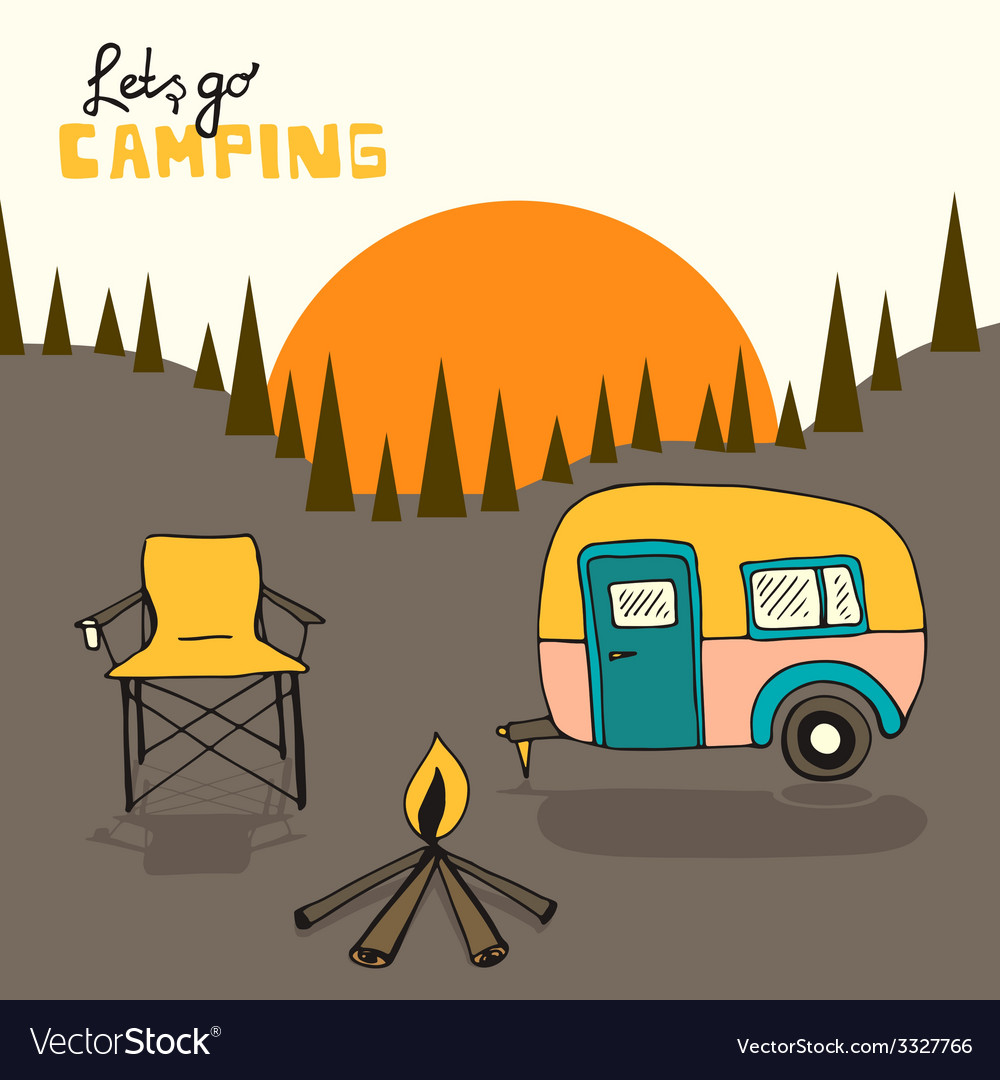 Camping background vector | Price: 1 Credit (USD $1)