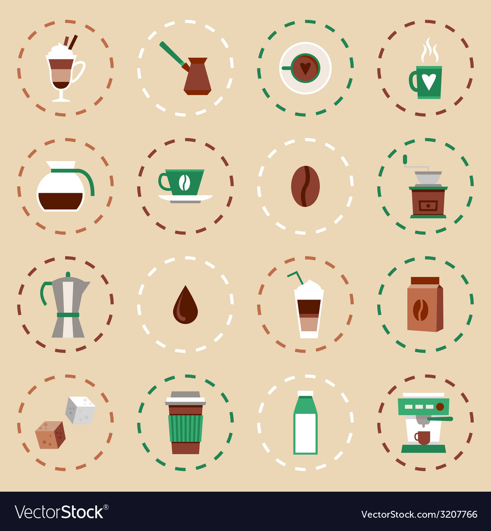 Coffee flat icons set vector | Price: 1 Credit (USD $1)