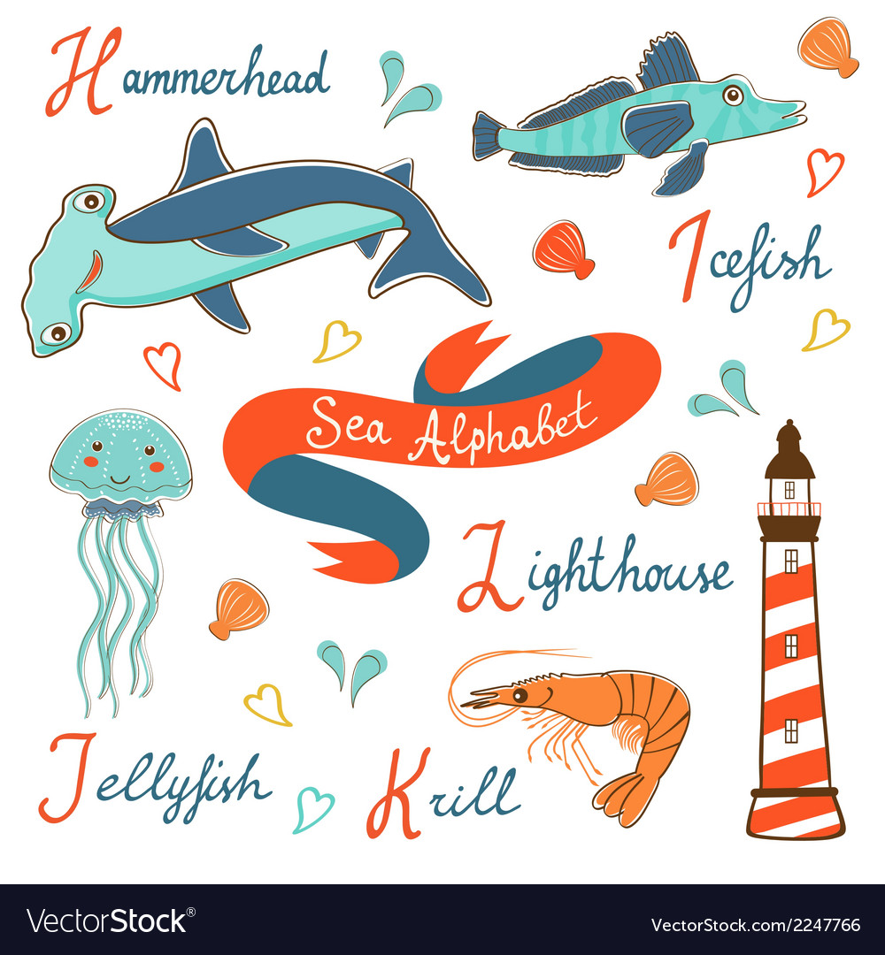 Cute colorful sea alphabet vector | Price: 1 Credit (USD $1)