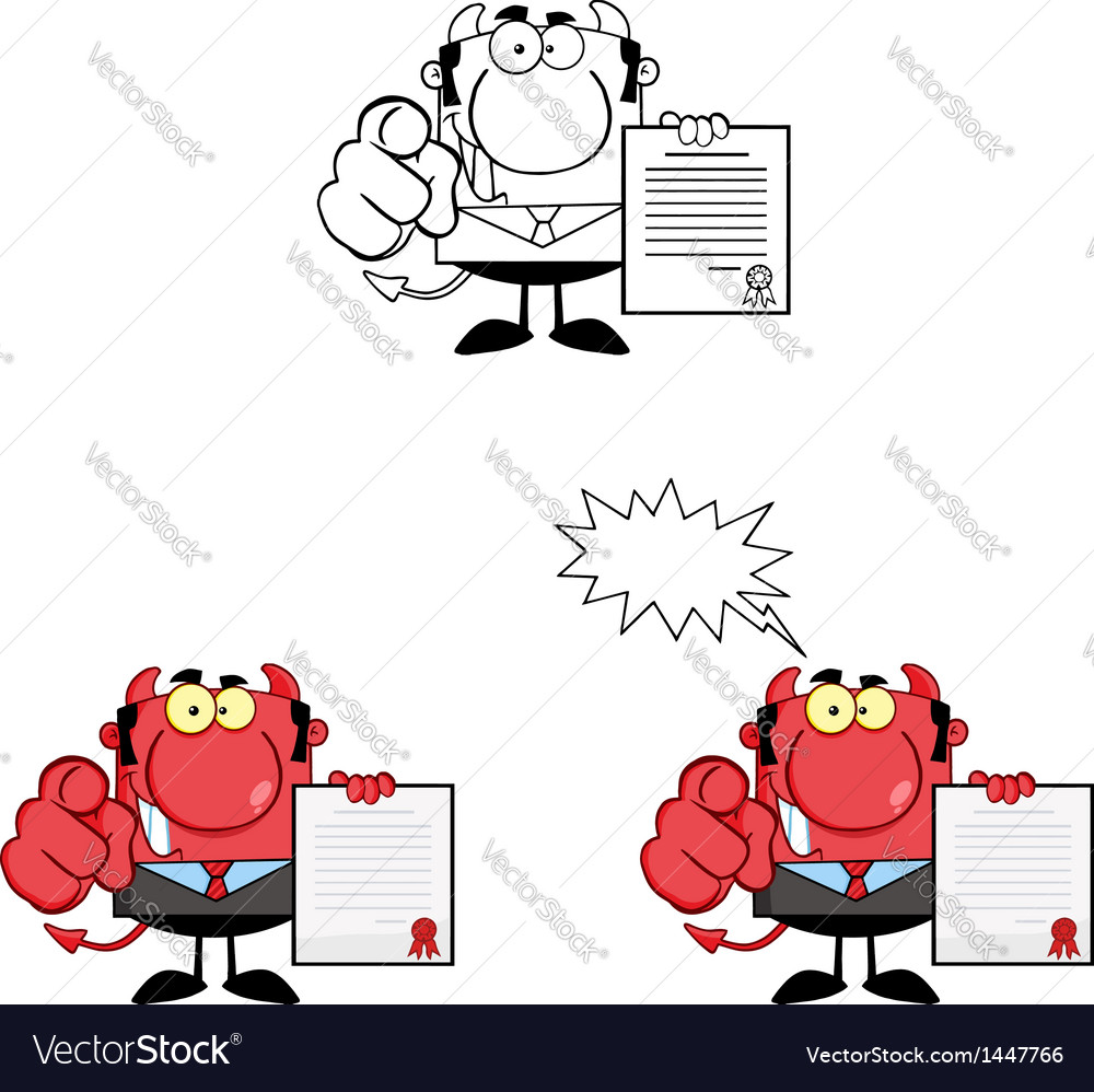 Devil boss holds up a contract vector | Price: 3 Credit (USD $3)
