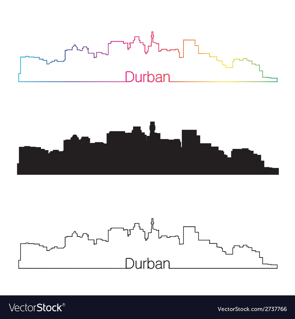 Durban skyline linear style with rainbow vector | Price: 1 Credit (USD $1)