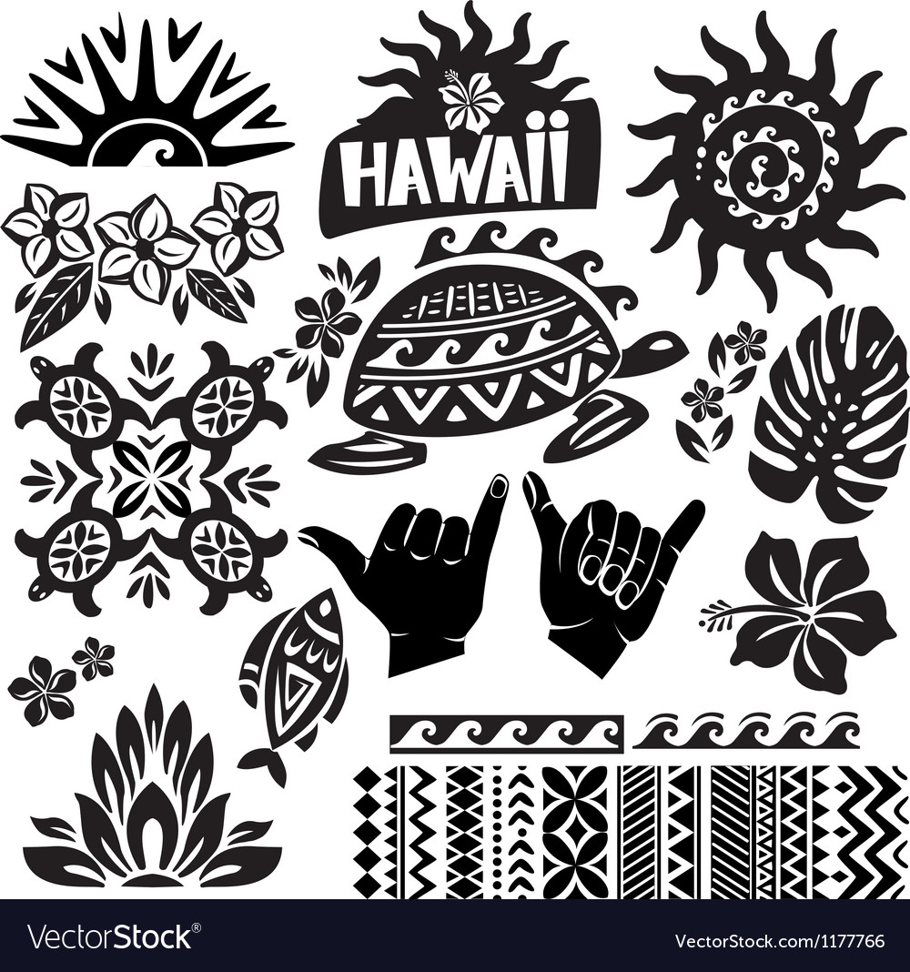 Hawaii set in black and white vector | Price: 1 Credit (USD $1)