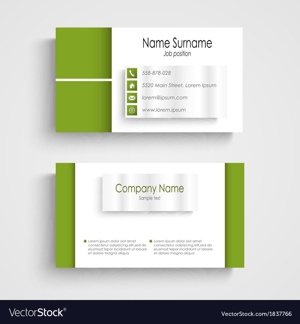 Modern green light business card template vector | Price: 1 Credit (USD $1)