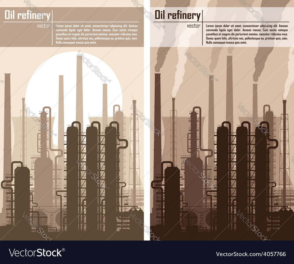 Oil refinery or chemical plant silhouette vector | Price: 1 Credit (USD $1)