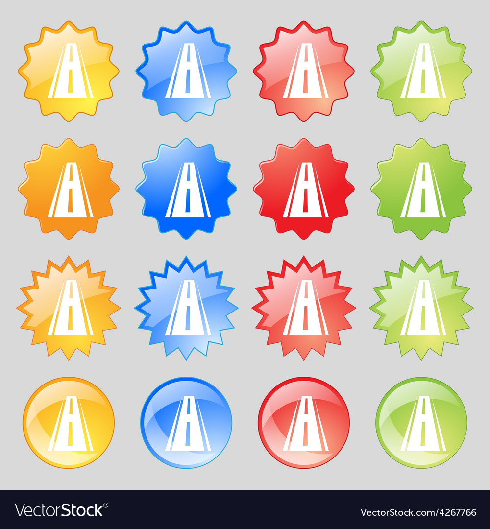 Road icon sign big set of 16 colorful modern vector | Price: 1 Credit (USD $1)