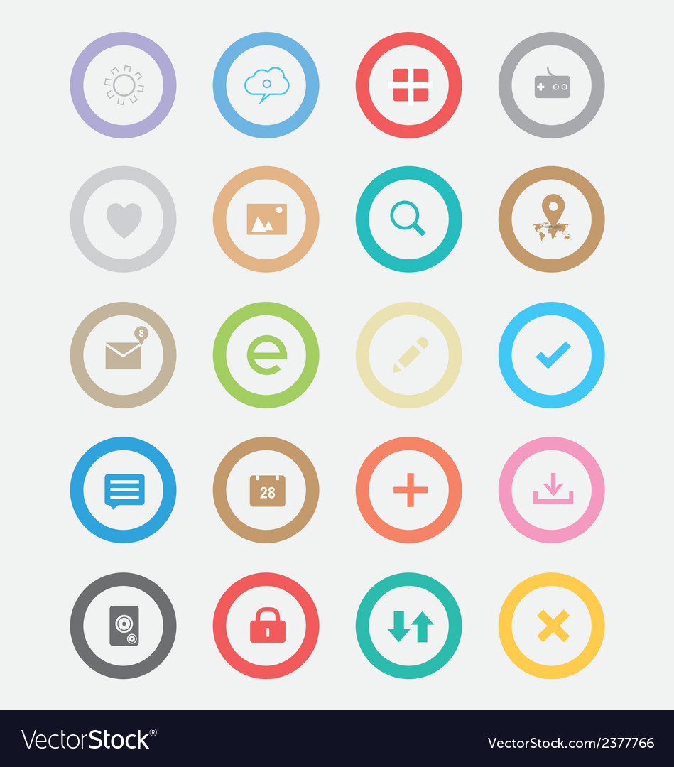 Round simple icons vector | Price: 1 Credit (USD $1)